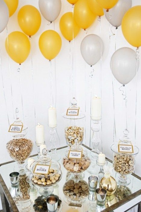 New Years Eve Party Dessert Table Love The Silver And Gold Could Use As Candy Bar Wedding Reception