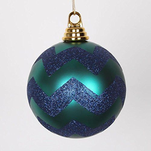 Felices Pascuas Collection Teal Green Matte with Sea Blue Glitter Chevron Christmas Ball Ornament 4.75 inch (120mm)