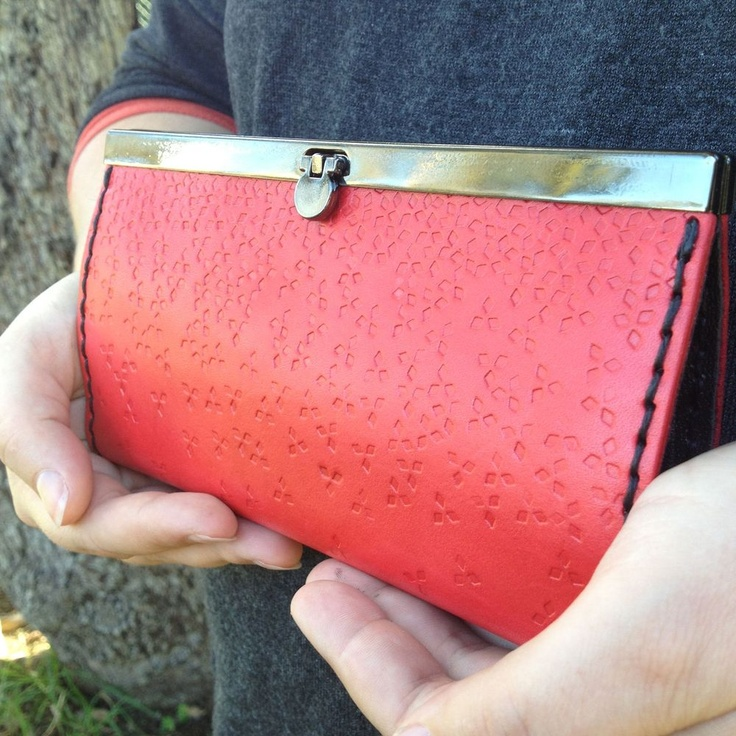 NEW - Falling Sky Handtooled leather clutch/wallet
