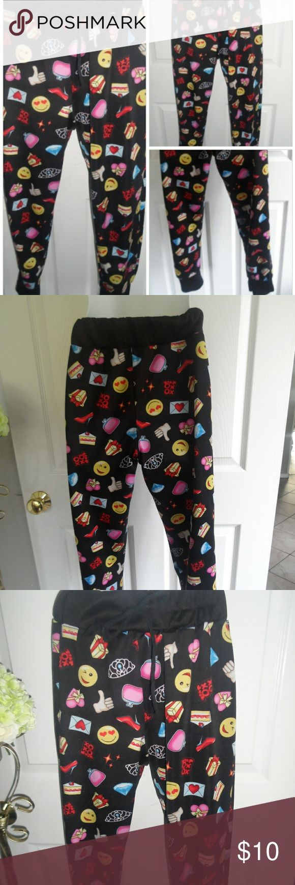 Cute Emoji Lounge Pants Cute Emoji Lounge Pants.  Elastic waist.  Strings do not adjust they are just for decoration. Other
