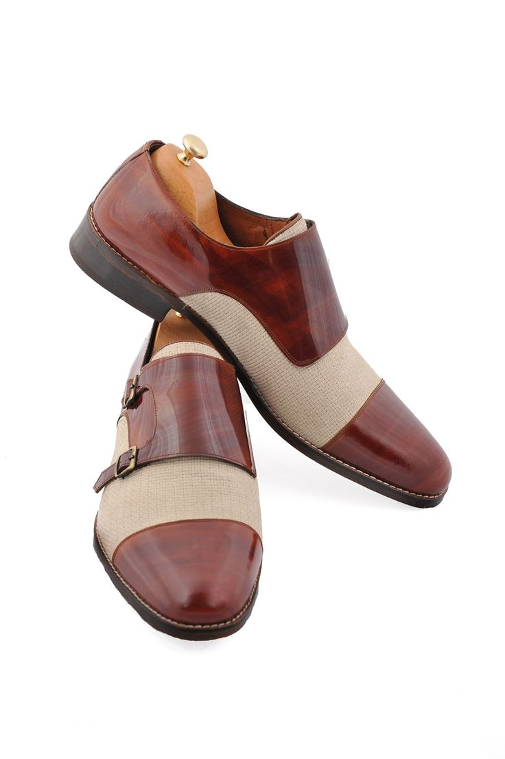 Handmade Brown Linen Monkstrap Men Shoes