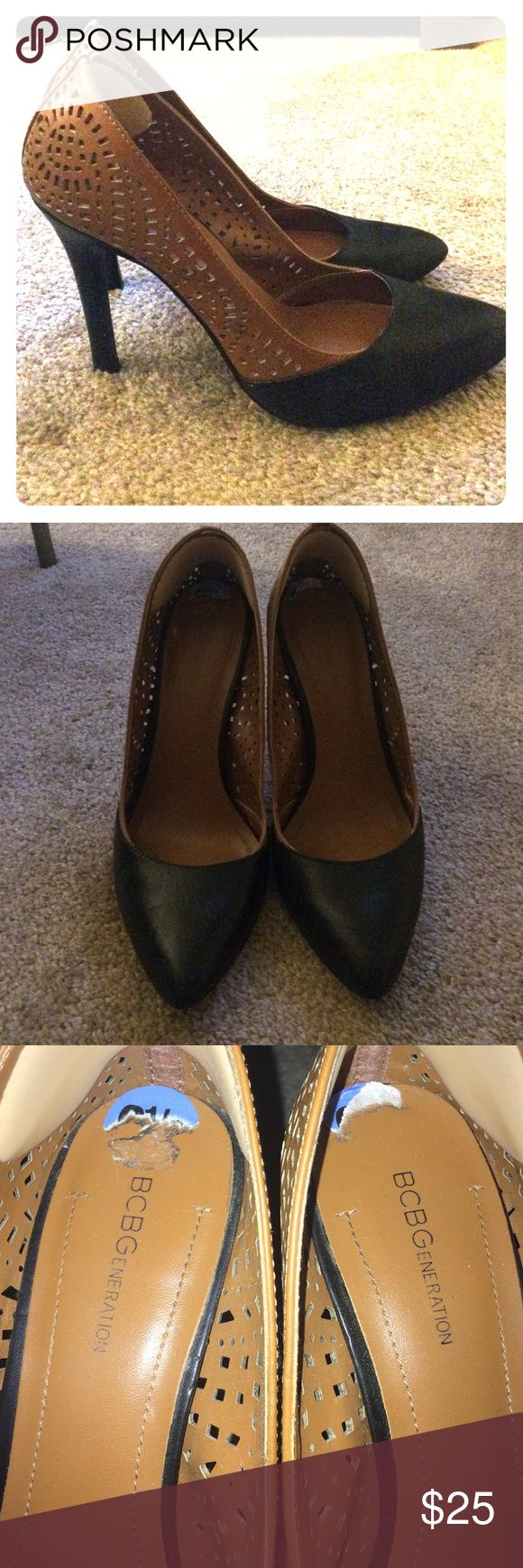 BCBG Generation two tone pointed heels - sz 6.5 Hello all! This is a BCBG Generation heels that are two toned. Black and brown with laser cut design. Pre owned but in good condition BCBGeneration Shoes Heels