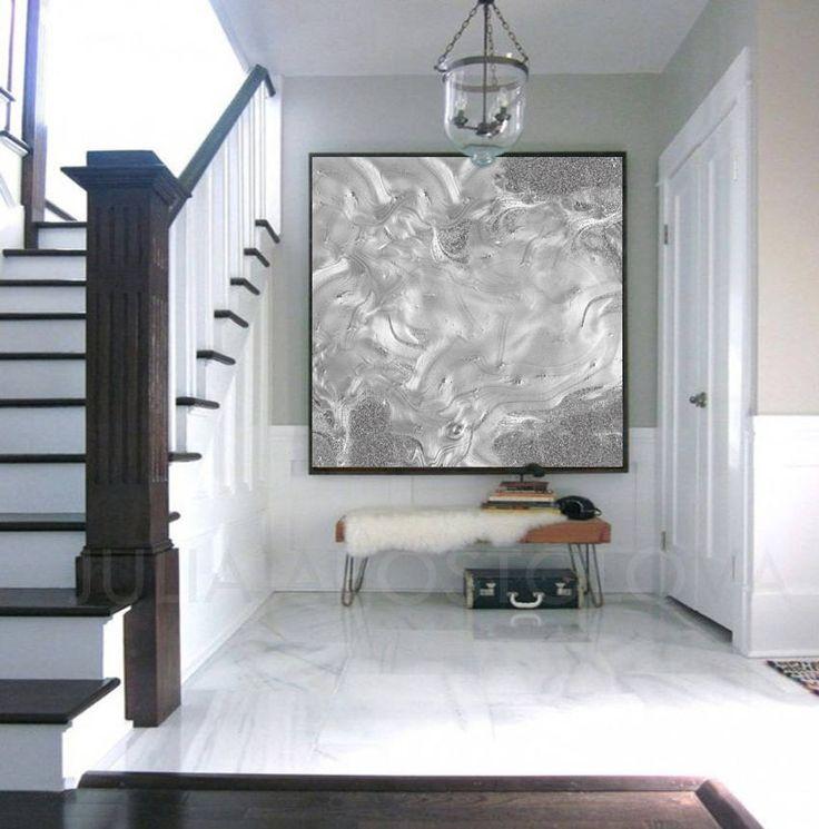 #Large #Canvas #Art, #Minimalist #Painting, #Silver #Gray #Abstract #Print, #Modern #ModernArt #HomeDecor, #LargeWallArt, #JuliaApostolova, '' #Moon #Dance'' by #JuliaApostolovaArt on #Etsy #interior #contemporary #home #interiordesigner #design #designer #decor