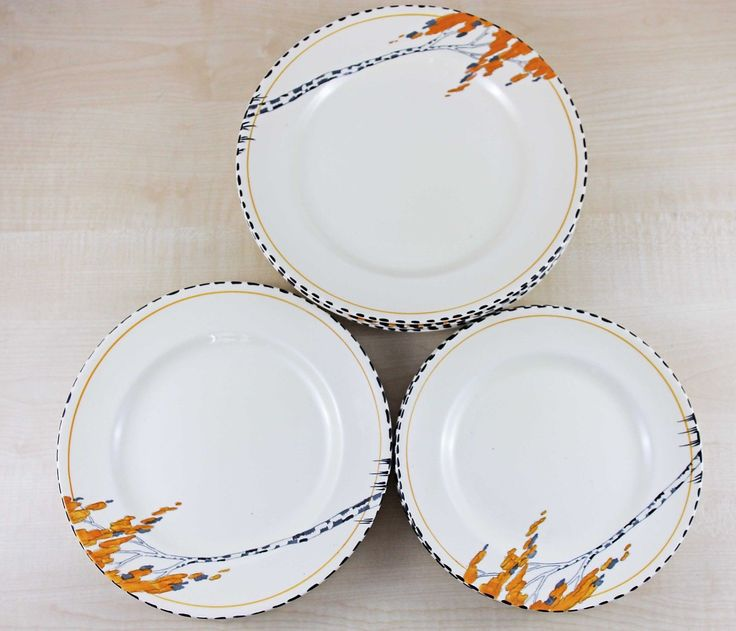 Vintage Old Burleigh Ware 'Ivory' Dinner Side & Starter Plate Set. Orange tree pattern. GBP25 list. Aug 2016. 11 plates in all.