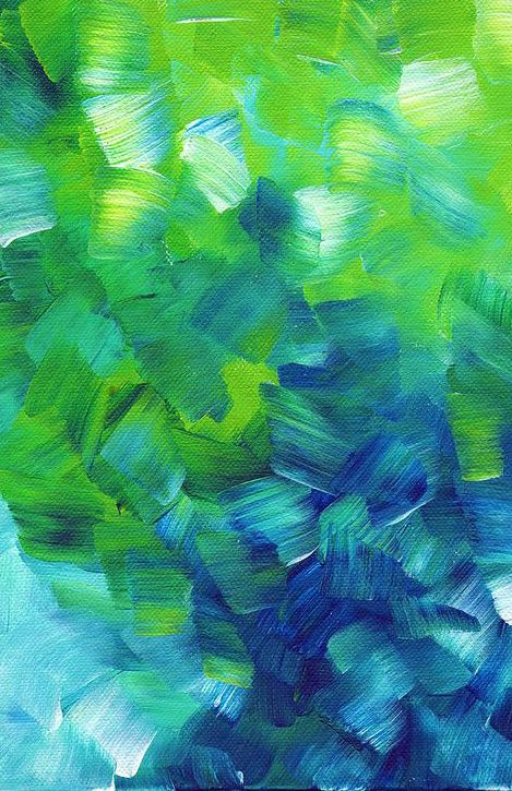 Blue And Green Abstract Touches Of Color Painting Art