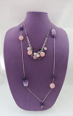 Silver Sterling Double Sided Necklace w. Pink Purple Quartz & Amethyst Beads