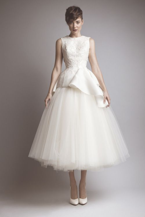 I LOVE this...Ashi studio tea length wedding dress