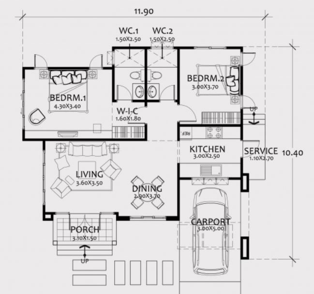 Home Design Plan 12x10m With 2 Bedrooms Home Ideas Home Design Plan Three Bedroom House Plan Bedroom House Plans