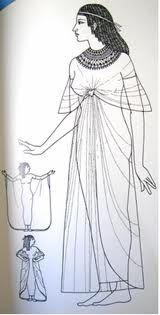 Los egipcios cultivaban el lino, material idóneo por su frescura para una región tan cálida, y aceptaron su naturaleza arrugadiza; en efecto, el atractivo de sus ropas reside en el plisado abundante y la composición envolvente.
