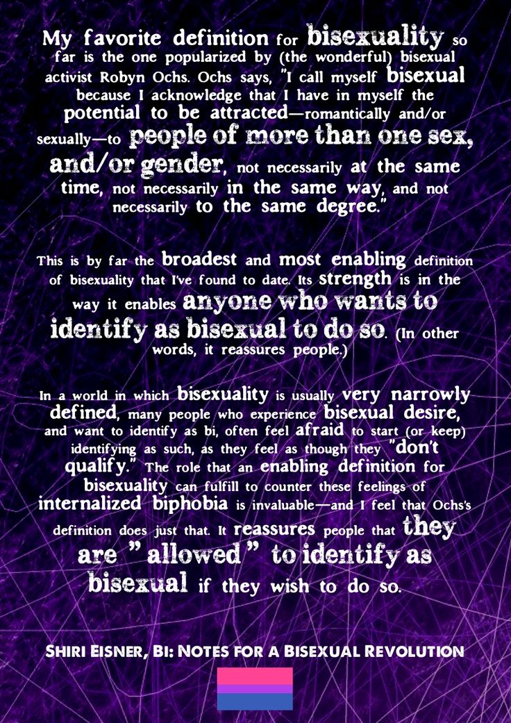 """[Image: Dark purple background with messy white 'scratches'. Text below.] """" My favorite definition for bisexuality so far is the one popularized by (the wonderful) bisexual activist Robyn Ochs. Ochs..."""