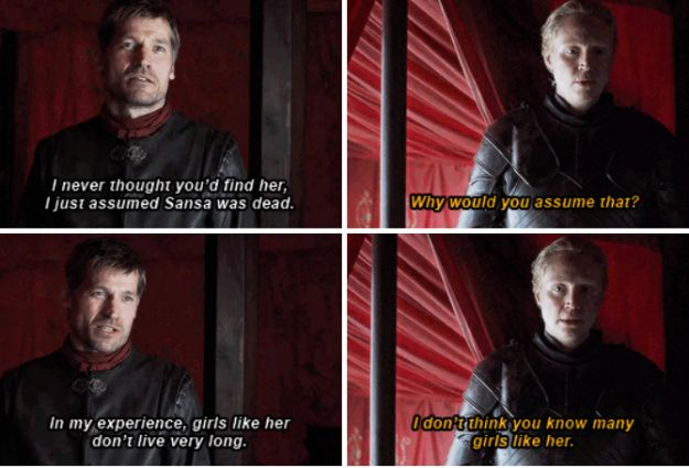 Inside the tent, we finally saw Jaime and Brienne face off. Brienne did what she did best and put Jaime in his place, while giving our girl Sansa her due.