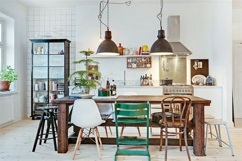 interior design, different chairs, teak table and industrial lighting