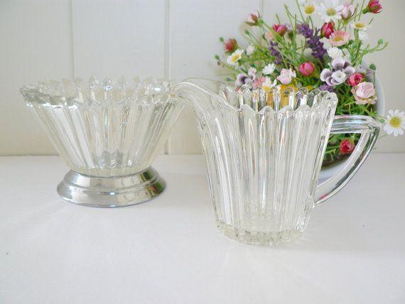 Vintage glass milk/cream jug and sugar by MaddyVintageHostess, £16.00