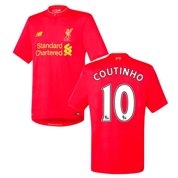 Philippe Coutinho Liverpool FC New Balance Youth 2016 Replica Home Jersey - Red - $79.99