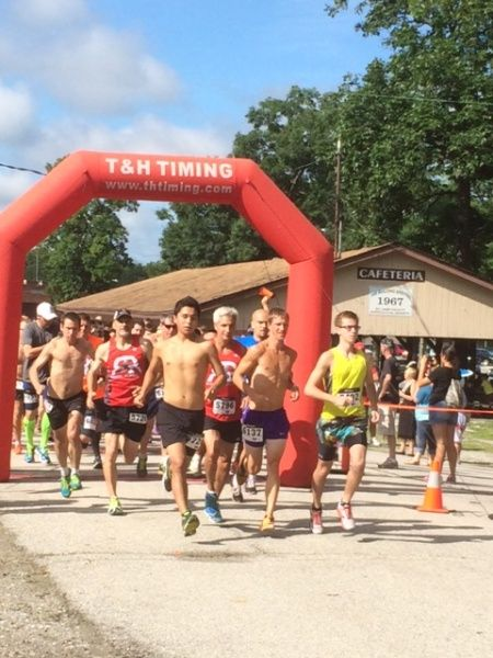 The start line at the Public Enemy 5K Run & Walk at the Lake County Fairgrounds in Crown Point, IN.