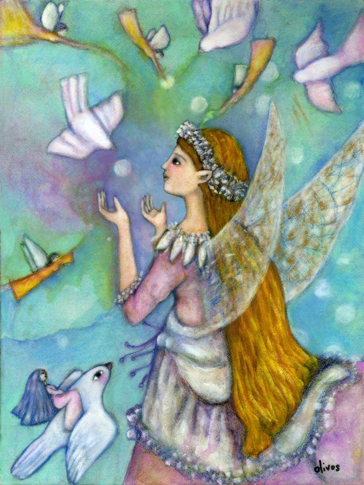 Inspirational art work - Spiritual Art - Goddess Art - Goddess Oonagh - Fairy Goddess - Fairy art - Gifts for Women - gifts for her - Boho by OlivosARTstudio on Etsy