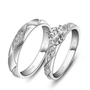 Name Engrave Sterling Silver Couple Rings - 47.00 USD - Worldwide Shipping