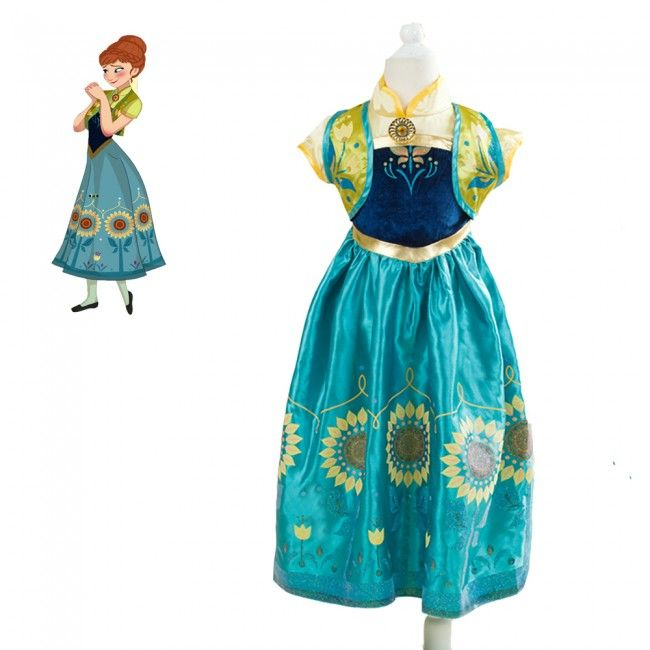 2015Disney Movie Frozen Fever Anna Kids Dress Cosplay Costumes