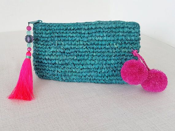 Turquoise raffia straw clutch purse / bag - Grass crochet purse with pom poms and tassel - hot pink and turquoise pom pom purse -