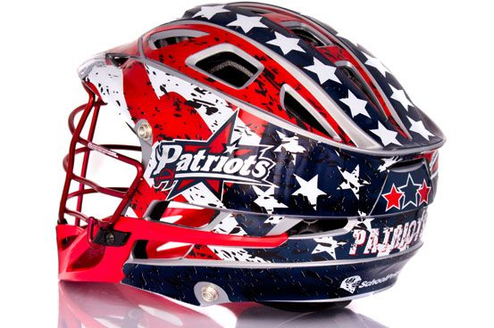 American Flag Lacrosse Wraps for the Patriots on a new Cascade R helmet.