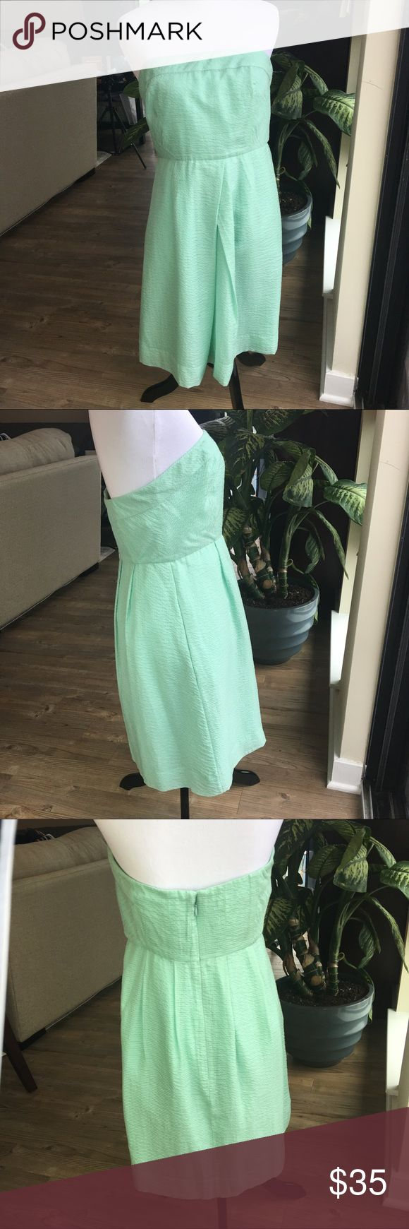 "J. Crew Strapless Party cocktail Dress Pre-owned Women's J.Crew Strapless Party Dress  Can be worn to pretty much any event where you want to look flirty! Wedding guest, bridesmaid, showers etc. - This dress gets the job done!  •	8 Petite  •	Strapless  •	Knee Length  •	Mint Green - Light Green Color  •	Has pockets  •	Pit to Pit is approx 16""  •	Zip up the back  •	Under bust 14""  •	Length is approx 29""  •	No stains or holes  •	Non-smoking home J. Crew Dresses Strapless"
