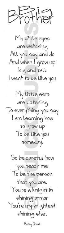 Big Brother Poem. So sweet!