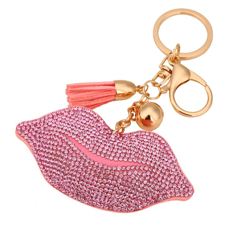Cute Rhinestone Lip Bag Charm and Keychain //Price: $4.55 & FREE Shipping //     #hashtag4