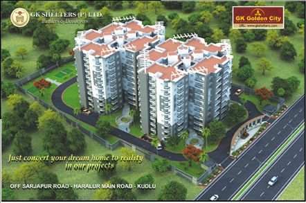 GK Golden City top elevation. G K GOLDEN CITY a BBMP Approved 2 & 3 BHK residential apartments is located in the hub of IT Companies, on off Sarjapur Road. visit:http://www.gkshelters.com