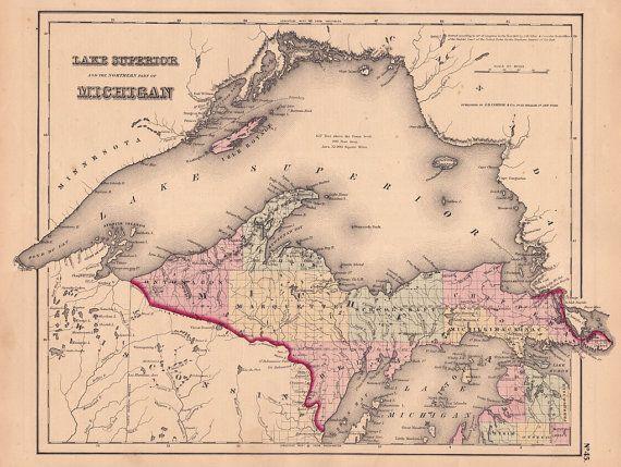 1855 map of lake superior and michigan s upper peninsula lake house ardara lakehouse arbed