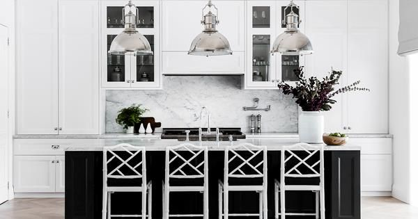 A Hamptons style kitchen from a home in Sydney's Eastern Suburbs designed by Coco Republic Interior Design. Photography: Maree Homer