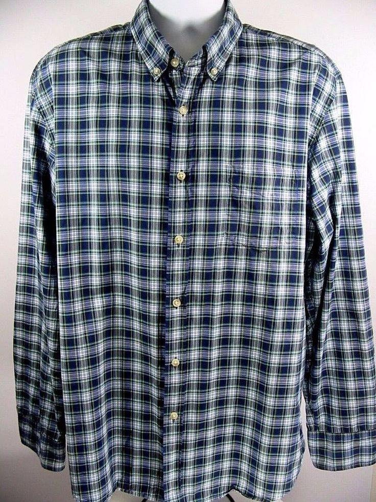 J CREW Tartan Mens Casual Shirt Button Down Long Sleeve Blue Plaid Check Size XL #JCREW #ButtonFront