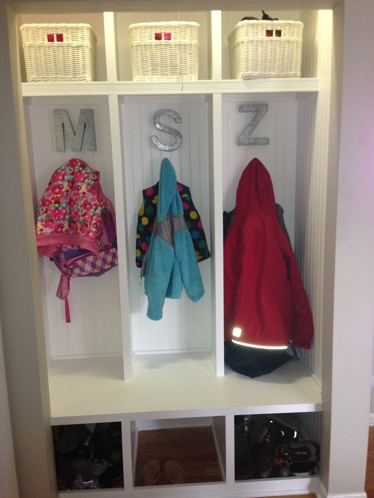 Exceptional Took Doors Off Hall Closet And Made A Build In Cubby Locker For Each Kid