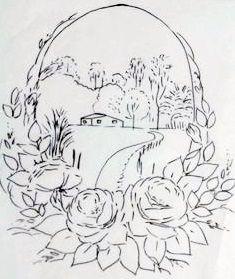 Pintura em Tecido, Como fazer, Passo a passo, Riscos e muitas dicas.: Riscos desenhos de Paisagens para pintar