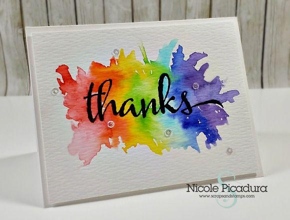 Watercolor bursting Thank You #card by Nicole Picadura