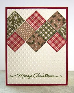 handmade Christmas card ... inchie in tiny Christmas prints form a quilt block pattern across the card top ... like the embedded embossing with the dots embossing folder ... homespun look ... like this card!!