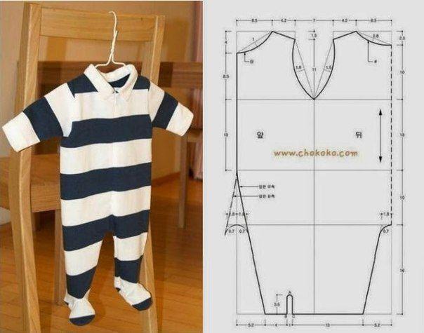 Ideas para el hogar: Enterito de bebé molde de costura incluido