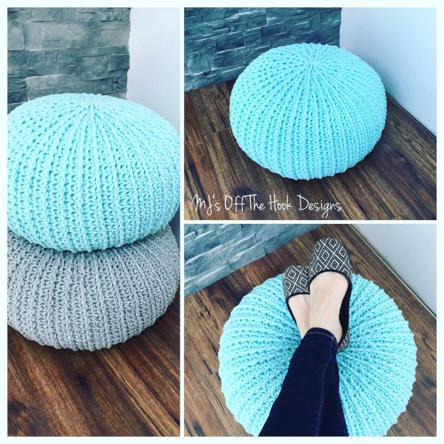 Cool Turquoise Room Decor Ideas - Crochet Floor Pouf - Fun Aqua Decorating Looks and Color for Teen Bedroom, Bathroom, Accent Walls and Home Decor - Fun Crafts and Wall Art for Your Room http://diyprojectsforteens.com/turquoise-room-decor-ideas