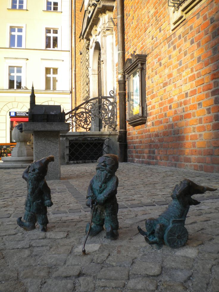 Three dwarfs in Wroclaw, Poland