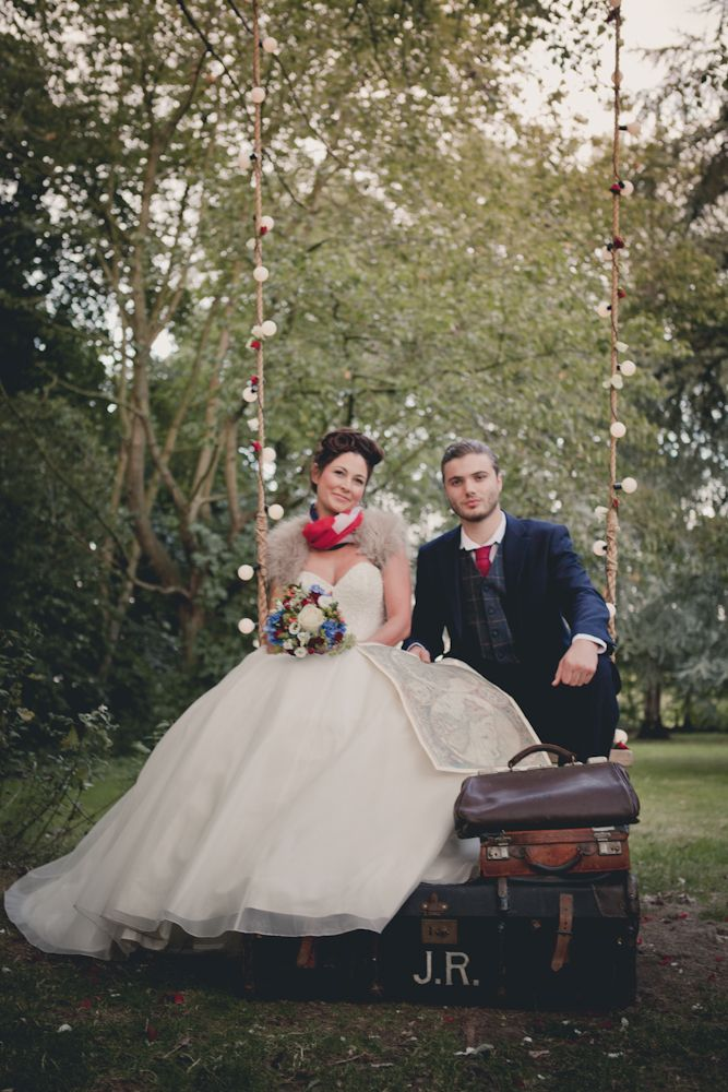 Bride and groom on their wedding tree swing by The vintage swing company