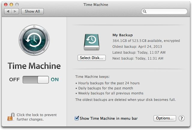 OS X Time Machine backs up your Mac