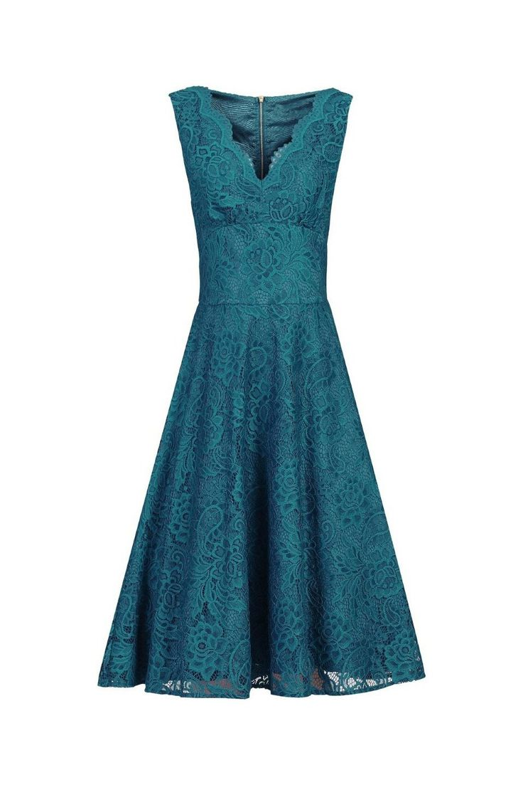 Teal Blue Embroidered Lace V Neck Sleeveless 50s Swing Dress