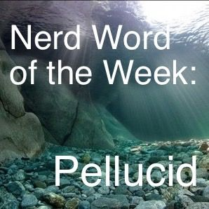 Nerd Word of the Week: Pellucid ~ Translucently clear. As in: The pellucid water revealed every stone beneath its surface.