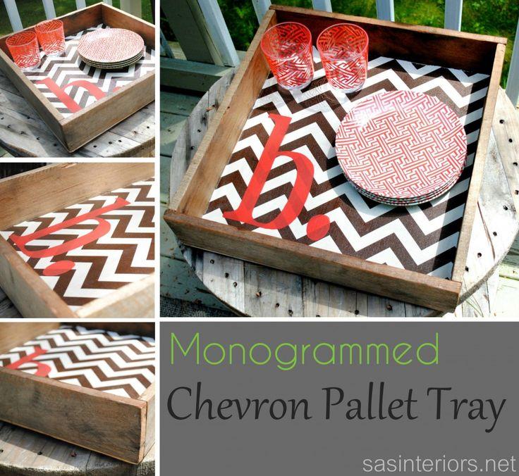 DIY: Monogrammed Chevron Pallet Tray