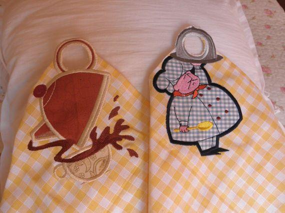Set of two kitchen towels napkinsgingham yellow white