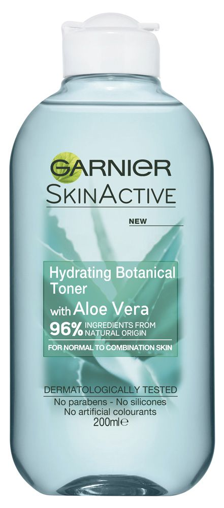 Garnier - Skin Active Hydrating Botanical Toner with Aloe Vera Reviews | beautyheaven Summary: No reviews. Suggests normal/combo skin. Alcohol. Likely to be refreshing/soothing, maybe astringent. Cooling (aloe vera).