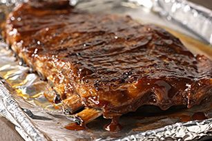 Sweet Mesquite BBQ Ribs - Pork spareribs are brushed with a mixture of A.1. Dry Rubs Sweet Mesquite BBQ and KRAFT Hickory Smoke Barbecue Sauce and then slow-baked to perfection.