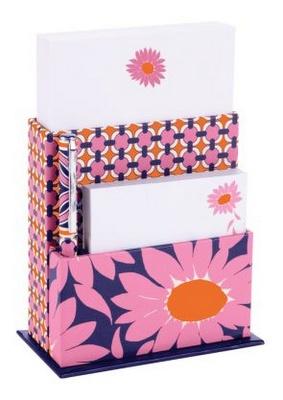 Pink and orange Vera Bradley stationary set.