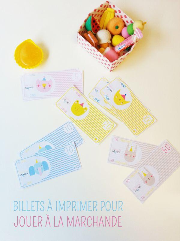 Pour renflouer la caisse enregistreuse en plastique de votre enfant, voici de jolis faux billets à imprimer pour jouer à la marchande !
