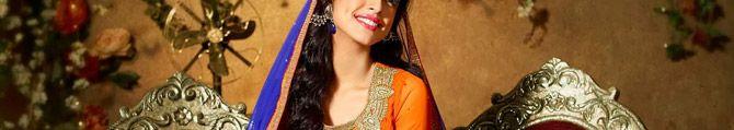 KVD20D27399 Deep Orange Net Churidar Anarkali Suit with Dupatta