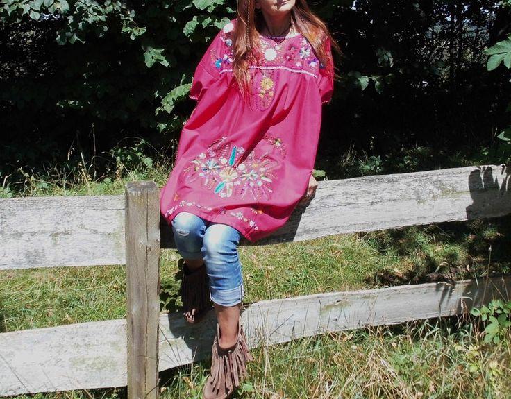 Jurken - XL mini jurk WILD BERRY borduurwerk  mexicaanse - Een uniek product van santa-fee op DaWanda